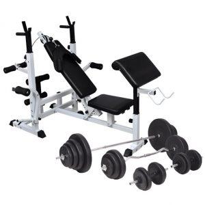 vidaXL Viktbänk set viktställning skivstång och hantlar 120 kg