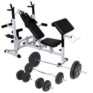 vidaXL Viktbänk set viktställning skivstång och hantlar 90 kg
